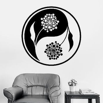 Wall Sticker Buddha Yin Yang Floral Flower Yoga Mandala Vinyl Decal (z2898)
