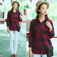 Red Plaid Printed Button Down Blouse