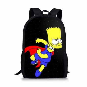 Cartoon Simpsons pattern Backpacks School bags child teenager orthopedic schoolbag for boys girls mochila escolar book bag 2018