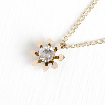 Antique Rosy Yellow Gold Filled White Paste Flower Pendant Necklace - Vintage Victorian Dainty Heart Floral Glass Stone Small Jewelry Charm