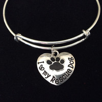 I Love My Rescue Dog Paw Print Heart Charm on a Silver Expandable Adjustable Wire Bangle Bracelet Meaningful Gift Animal Lover Gift Rescue