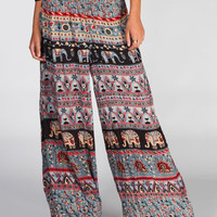 Angie Ethnic Print Womens Wide Leg Pants Black/Grey  In Sizes