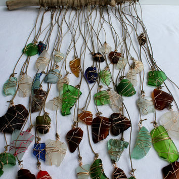 Beach Glass Sun Catcher Wind Chime Driftwood Mobile-Seaglass Art-Beach Wedding Decor-Bohemian Style-Cobalt Blue-Genuine Surf Tumbled