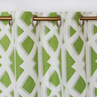 Modern Lime Green Curtains Geometric Drapes Green and White Set of 2