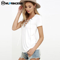 Owlprincess Sexy Hollow out Strappy Front Women Plus Size Lace Up Causal Short Sleeve Shirt Women Blusas Lady Tops Black Blouse