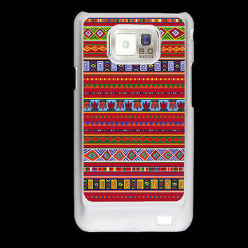 Red Aztec pattern Inca tribal Samsung Galaxy S2 case, i9100 cover, Aztek Samsung Galaxy SII cover, hard case