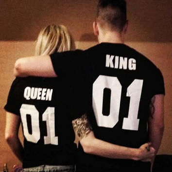 2016 One Piece  KING QUEEN 01 Funny Letter Print T-Shirt Women Men Sport Tops Hipster Fashion Clothing Summer Style t shirt tees