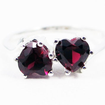 Ruby Double Heart Ring, 925 Sterling Silver, July Birthstone Ring, Red Ruby Heart Ring, Friendship Ring, Promise Ring, 925 Ruby Ring