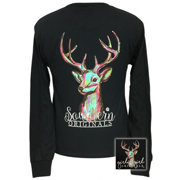 Girlie Girl Preppy Watercolor Deer Long Sleeve T-Shirt