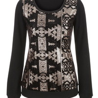 long sleeve patterned sequin pullover