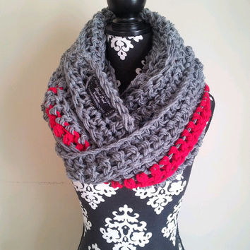 End of Season Sale Was 49 Now 30 Grey Gray and Red Chunky Infinity Scarf