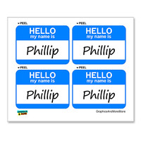 Phillip Hello My Name Is - Sheet of 4 Stickers