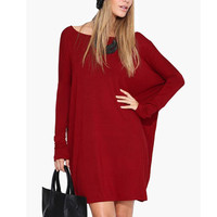 Red Plain Loose Long-Sleeve Dress