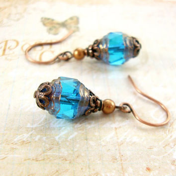 Coppery Teal Earrings - Blue Czech Glass Bead Earrings - Antiqued Copper Filigree Swarovski Pearl Blue and Copper Earrings - Copper Jewelry
