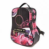 2016 Womens Guitar shape Leather Backpacks Riveting Backpack Women PU ladies Printing Flowers school book bag for girl rucksack