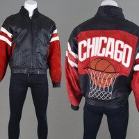 Vintage 90s Chicago Leather Basketball Jacket Chicago Bulls Michael Jordan XL Real Leather NBA Jacket Sportswear Scottie Pippen Red Suede
