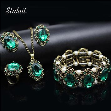 Fashion Wedding Bridal Jewelry Sets Green Crystal Antique Bronze Jewelry Set Necklace Earrings Bracelet Rings Christmas Gift