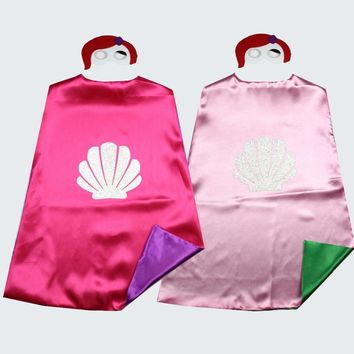Kids Girls Little Mermaid costume Capes with masks for Birthday Party Favor