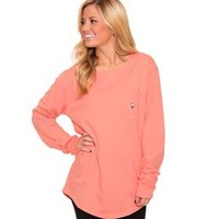 Southern Shirt Company Kimmy Boatneck LS T-Shirt in Pink Salmon