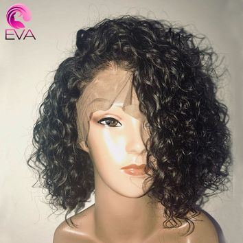 Man Unit Base - 150% Density Curly Lace Front Human Hair Wigs With Baby Hair Pre Plucked 13x6 Short Human Hair Bob Wigs Brazilian Remy Eva Hair Men Unisex
