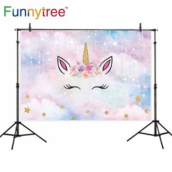 Funnytree cute baby child birthday party golden stars dream color cloud Bright light unicorn backdrop photography background