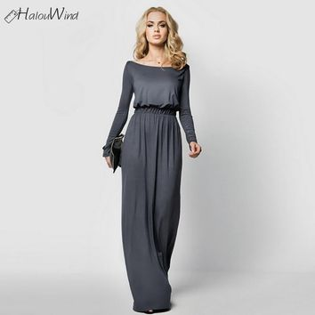Vintage Women Long Evening Party Autumn Dresses Milk Silk Long Sleeve Off Shoulder Slim Maxi Dress Wedding Elegant Vestidos Robe