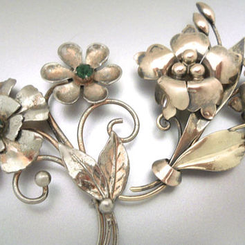 2 Sterling Silver Flower Brooches, 12K Gold Filled Art Nouveau, CARL ART, Green Rhinestones, Vintage