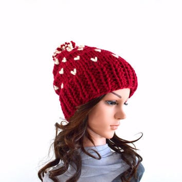 ON SALE Knit Chunky Fair Isle Pom Pom Slouchy Hat Beanie Toque // The Norwich // in Cranberry and Fisherman
