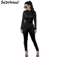 Woman Tight Bodysuit Sexy Overalls Night Club Rompers Party Playsuit Bodycon Jumpsuit Macacao long Sleeve Jumpsuit Gray Black