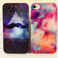Science Fiction Stars Mustache Case for iPhone 4 4S