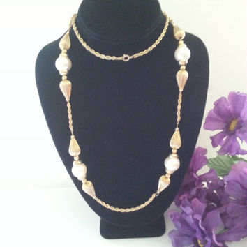 1960's High End Necklace, Vintage Gold Tone Faux Pearl Long Necklace, Mad Men Mod, Old Hollywood Glamour