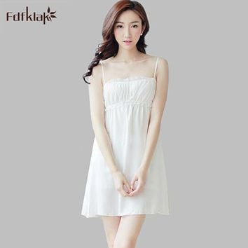 Sexy cotton summer dress sleeveless short ladies nightie strapless spaghetti strap white nightdress nightgowns for women A705
