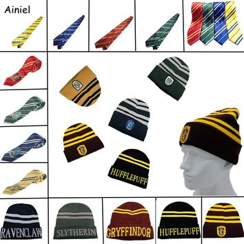 Ainiel 10 PCS LOT Harri Potter Hats Ties Gryffindor Slytherin Hufflepuff Ravenclaw Cap Cosplay Costumes Hermione Men Women Boys