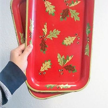 Trays, 2 Vintage Diner Tin Trays, Red Acorn and Leaves, Set of Serving Waitress Trays, FREE US Shipping