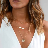2017 New Fashion Layered Gold Silver Choker Necklace For Women Charm Long Square Multilayer Loos Y Necklace Gift   171213