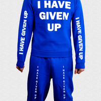I Have Given Up Sweat Suit // royal blue sweatshirt and sweatpants