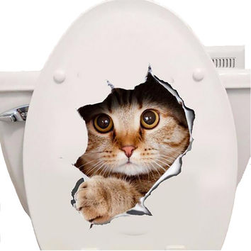 3D Cats Toilet Stickers