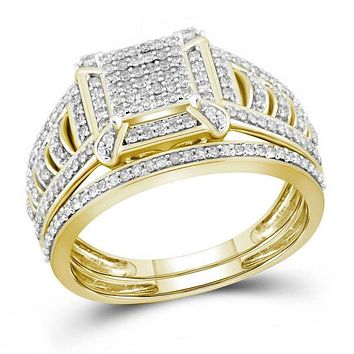 10kt Yellow Gold Womens Diamond Square Cluster Bridal Wedding Engagement Ring Band Set 1-2 Cttw