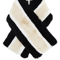 BCBG Runway Striped Fur Scarf