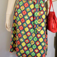 60s/70s Wrap Skirt Geo Pop Print Primary Colors Cotton Red Yellow Blue Green Vintage Made in Germany - FREE SHIPPING