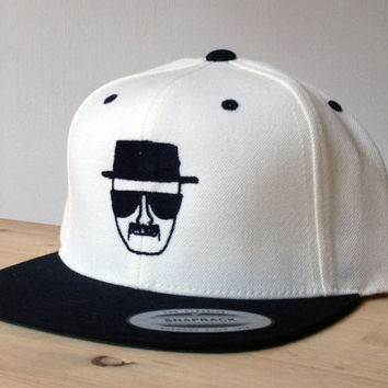Breaking Bad Snapback Cap with Custom Embroidered Logo.  Made to order quality snap back hats and designs