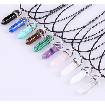 Vintage Bullet Quartz Crystal Necklace Pendant For Women Amethyst Turquoise Rope Chain Necklace Fashion Jewelry Bijoux Collares