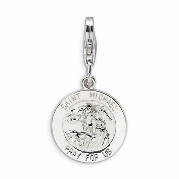 18K White Sterling Silver Saint Michael Medal w/Lobster Clasp Charm