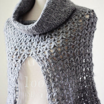 Crochet PATTERN pdf file Ladies Cowl Poncho by monpetitviolon