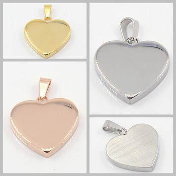 10pcs Fashion 304 Stainless Steel  sliver Heart  Pendants Necklace for women golden charm lovely Valentine Jewelry pingente