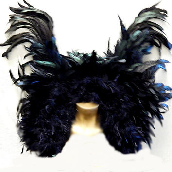 Gothic Raven Feather Winged Collar black Dark Purple accents Custom order Adult Unisex