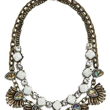 Women's BaubleBar 'Anemone' Sea Glass Bib Necklace - Mint/ Antique Gold