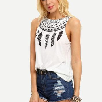 El Paso Tribal Feather Print Tank Top