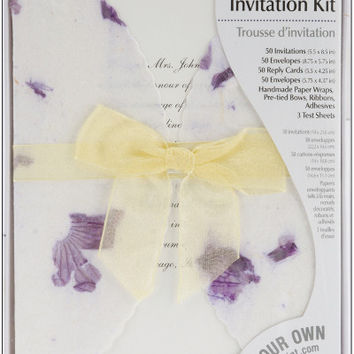 lavender pressed floral invitation kit - 50 pack
