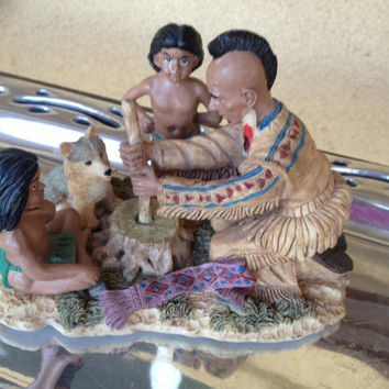 Native American Family Collectible Indian Figurine Sculpture Statue - Father with Kids and Wolf, Starting a Fire Native Scene